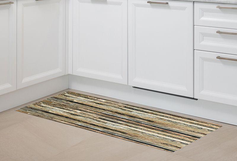 Alfombra para pasillo madera r stica oscura 150x65cm - Alfombras de madera ...
