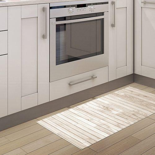 Alfombra Vinilo Cocina - Madera Brown White 97x48cm