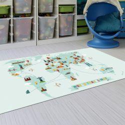Alfombras Infantiles Lavables - Mapa del Mundo 143x97