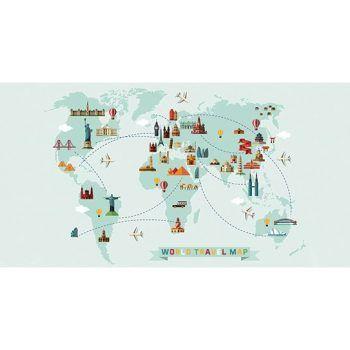 Alfombra Vinílica Infantil 97x48 - Mapa del Mundo