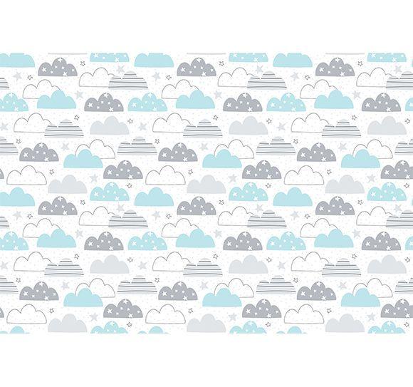 Alfombra vin lica infantil 143x97 nubes azul y gris for Alfombra vinilica infantil