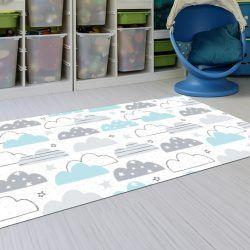 Alfombras Infantiles Lavables - Nubes Azul y Gris 143x97