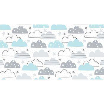 Alfombra Vinílica Infantil 97x48 - Nubes Azul y Gris