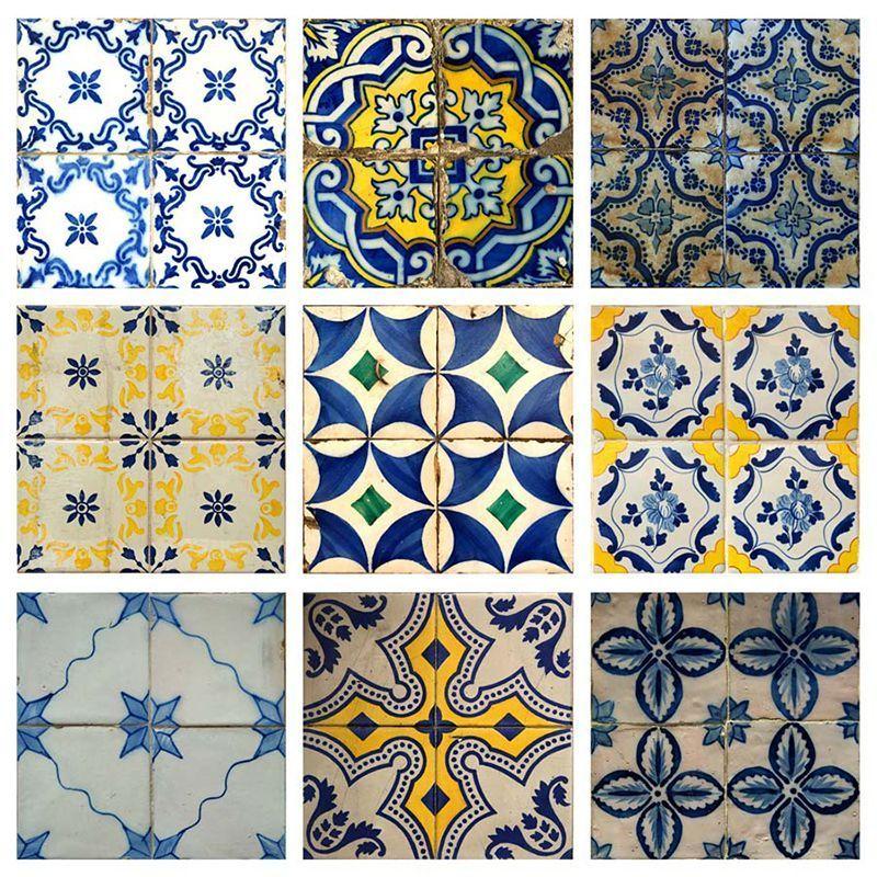 Azulejo hidraulico textura papel pintado baldosa for Vinilo azulejo hidraulico