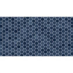 Alfombra Vinilica Hexágonos Azul 97x49cm