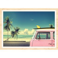 Cuadro de Madera Impresa - Pink Surf Van