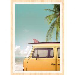 Cuadro de Madera Impresa - Yellow Surf Van