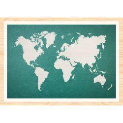 Cuadro de Madera Impresa - Mapa Mundo