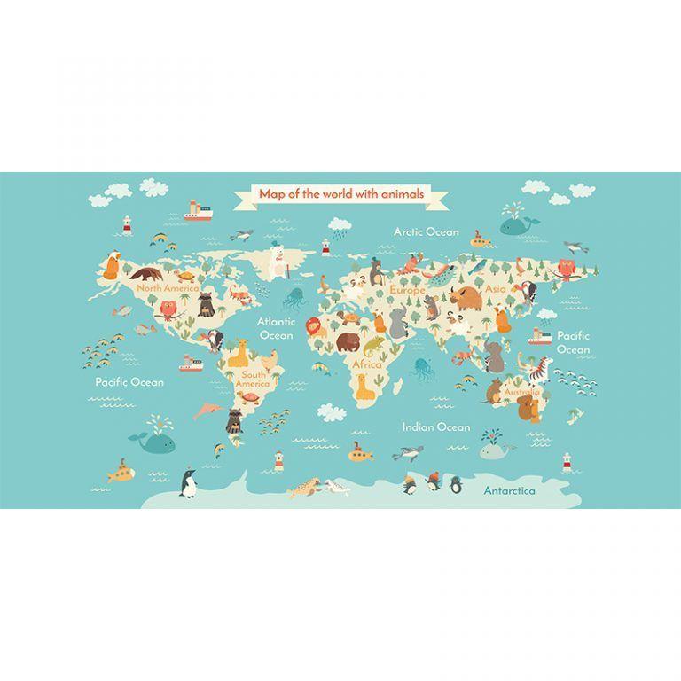 Alfombra Vinílica Infantil 97x48 - Mapa Animales
