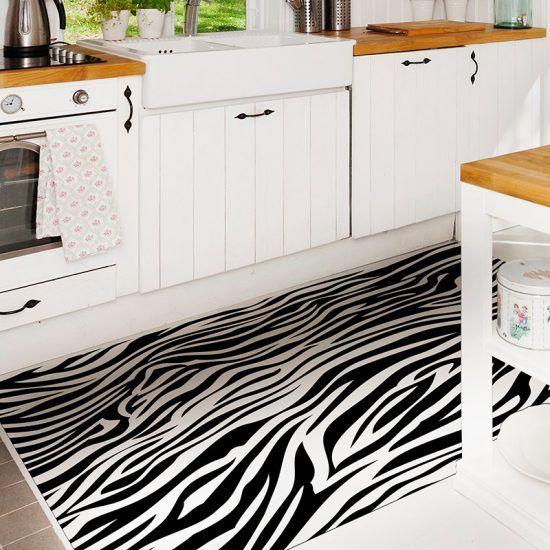 ALfombra Vinílica Black & White cocina