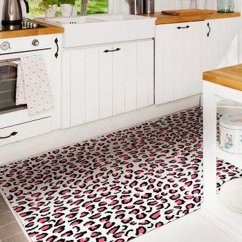 ALfombra Vinílica Pink Leopard cocina