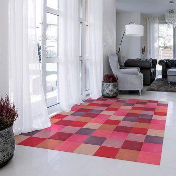 ALfombra Vinílica Pink Squares salón