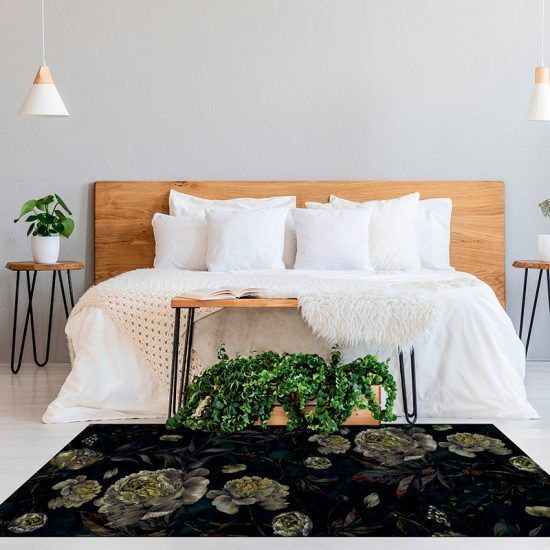 ALfombra Vinílica Dark Flowers habitación