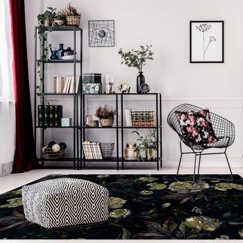 ALfombra Vinílica Dark Flowers salón