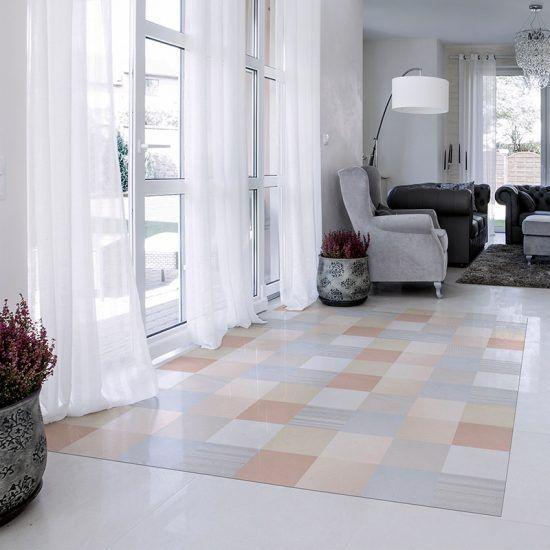 ALfombra Vinílica Pastel Squares recibidor