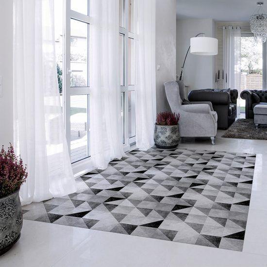 ALfombra Vinílica Grey Triangles salón