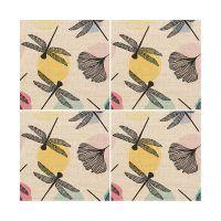 Set de 4 posavasos Dragonfly