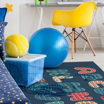 Alfombra Vinílica Infantil ABC Azul dormitorio