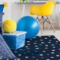Alfombra Vinílica Infantil Polka Dots Blue dormitorio