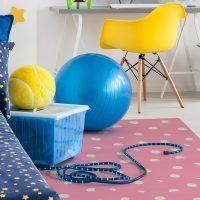 Alfombra Vinílica Infantil Polka Dots Pink dormitorio