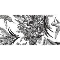 alfombra vinílica floral Hawai black and white 97 x 48 cm