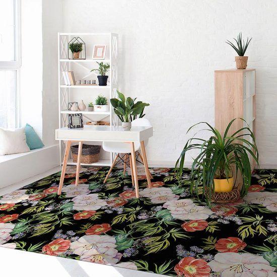 dormitorio alfombra vinílica floral Rita