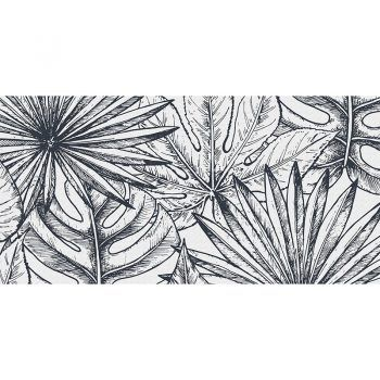 alfombra vinílica LEaves Black & White 97 x 48 cm