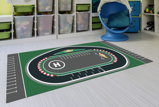 alfombra vinílica infantil Racing Circuit detalle playroom