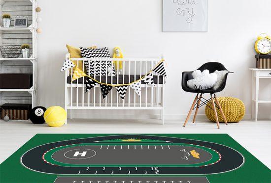 alfombra vinílica infantil Racing Circuit Outlet detalle habitación