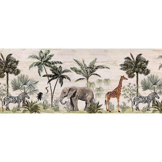 Cabecero de cama de vinilo Jungle Animals 200 x 80 cm
