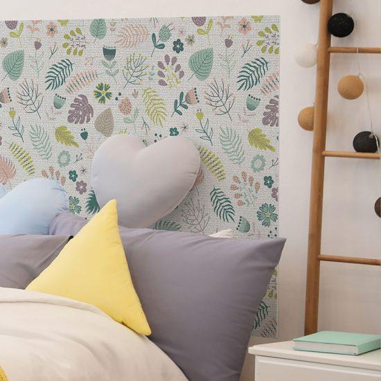 Detalle cabecero de cama de vinilo infantil Happy Flower