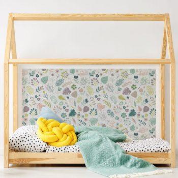 Cabecero de cama de vinilo Infantil Happy Flower detalle cama