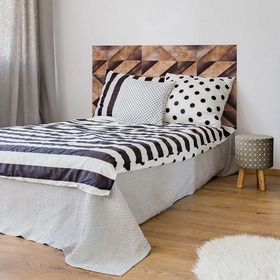 Dormitorio cabecero de cama Brown Wood Triangles 135 x 80 cm