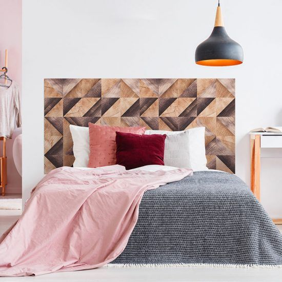 Dormitorio cabecero de cama Brown Woods Triangles 160 x 80 cm