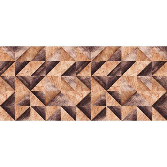 Cabecero de cama de vinilo Brown Wood Triangles 200 x 80 cm