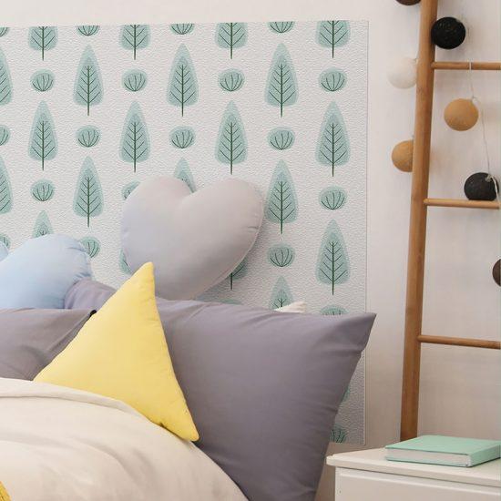 Detalle cabecero de cama de vinilo infantil Bosque Verde