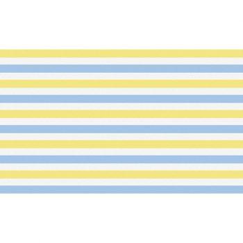 Cabecero de cama de vinilo Infantil Rayado Azul y Amarillo 135x80