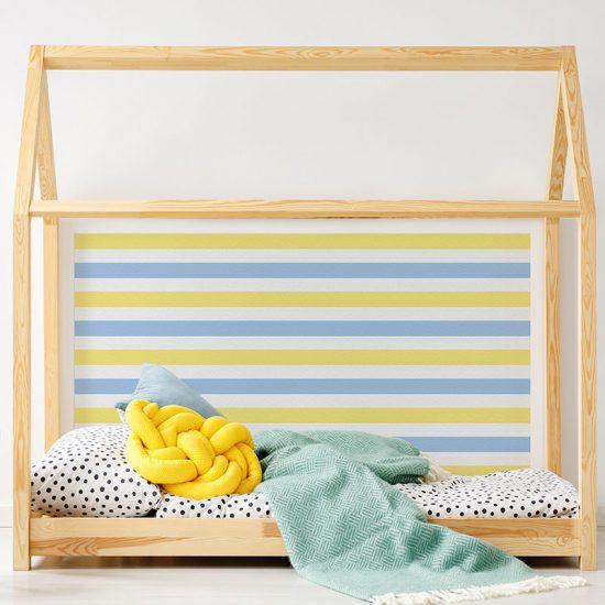 Cabecero de cama de vinilo Infantil Rayado Azul y Amarillo detalle cama