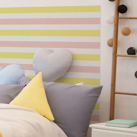 Detalle cabecero de cama de vinilo infantil Rayado Amarillo y Rosa