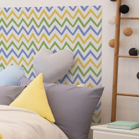 Detalle cabecero de cama de vinilo infantil Zig Zag Colores