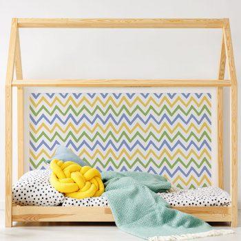 Cabecero de cama de vinilo Infantil Zig Zag Colores detalle cama