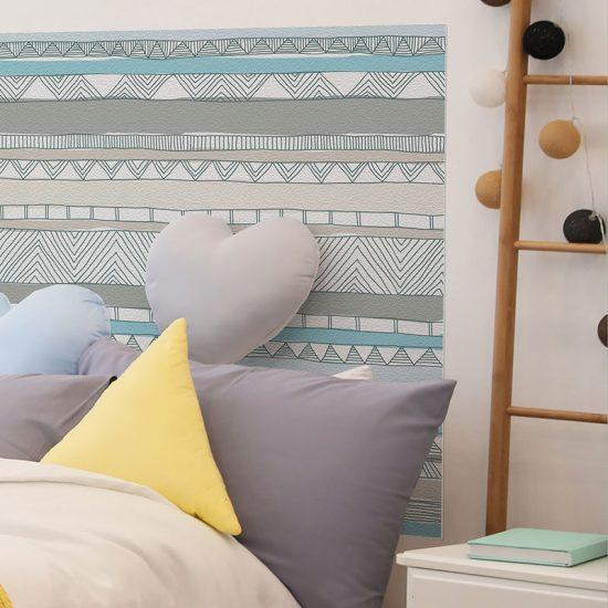 Detalle cabecero de cama de vinilo infantil Love Lines