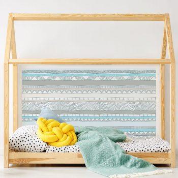 Cabecero de cama de vinilo Infantil Love Lines detalle cama