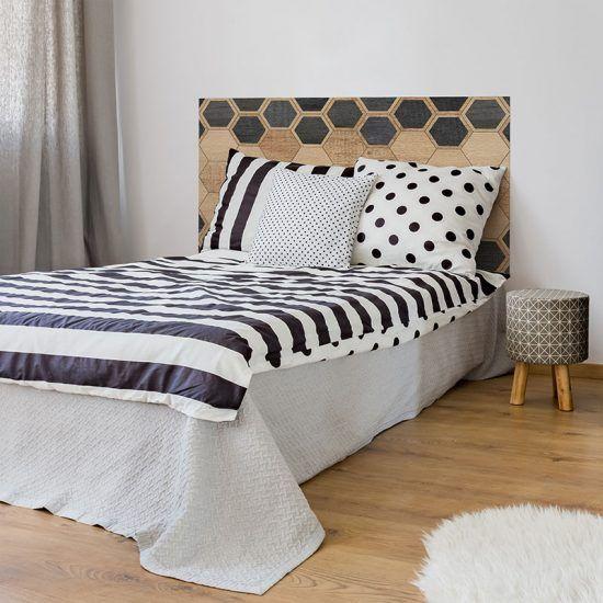 Dormitorio cabecero de cama Hexagons Black Wood 135 x 80 cm