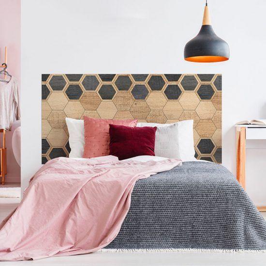 Dormitorio cabecero de cama Hexagons Black Woods 160 x 80 cm