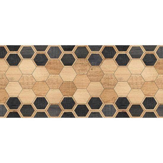 Cabecero de cama de vinilo Hexagons Black Wood 200 x 80 cm