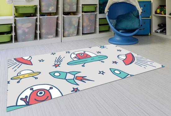 alfombra vinílica infantil Marcianos Gris Outlet detalle playroom
