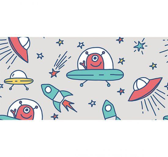 alfombra vinílica infantil Marcianos Gris Outlet 97x48