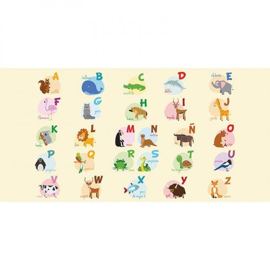 alfombra vinílica infantil ABC Animales Outlet 97x48