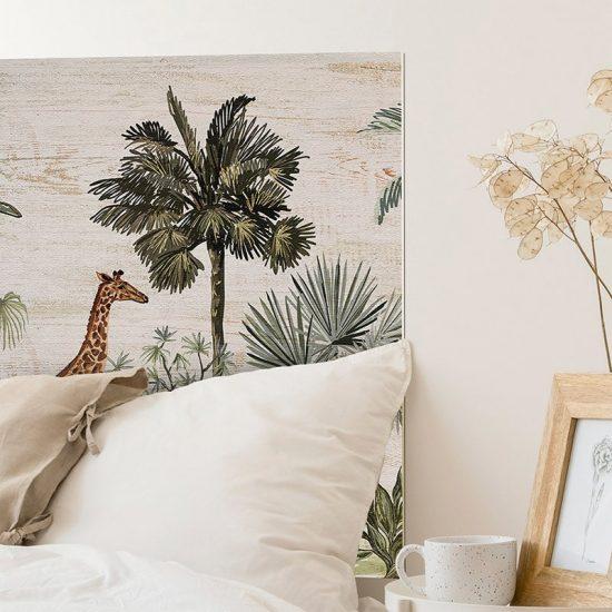 Detalle cabecero de cama de vinilo Jungle Animals